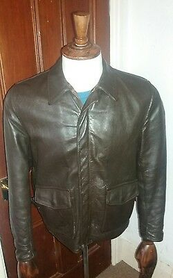 Aero Leather Bomber Jacket 38 Chest Medium Indiana Jones 1930's style Vintage