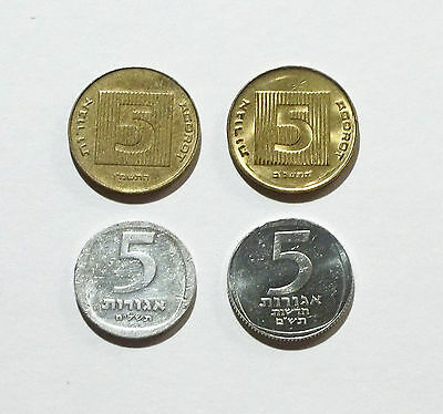 Israel 5 New Agorot 1987 & 1992 (Piedfort Set), and 5 Agorot Coins 1978 & 1980