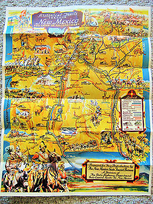 Vintage HISTORICAL TRAILS THROUGH NEW MEXICO map/poster