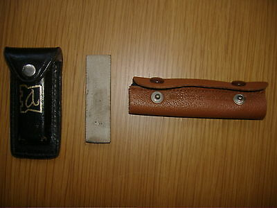 A Vintage Hardy Hook Sharpening Stone In Leather Case & Hardy Line Cleaner