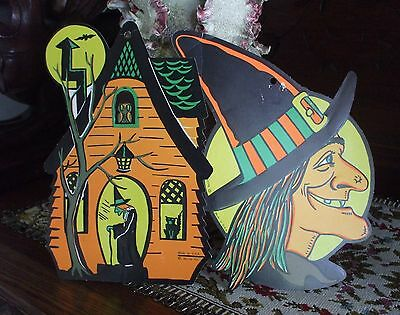 Vintage Halloween WITCH Die Cut Paper Decorations Beistle Profile Witch in House