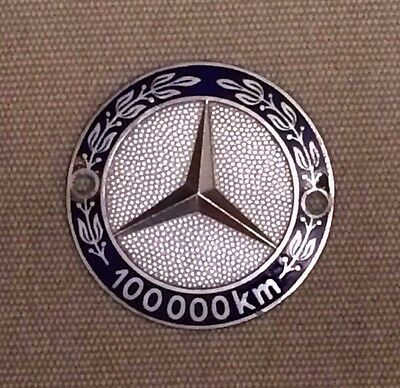 Vintage Enamel Mercedes Benz 100000 km Kilometer Grill Grille Badge Made in Ger.