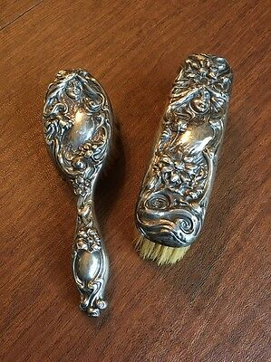 sterling art nouveau Hair & Clothes Brush Lady Scroll Flower