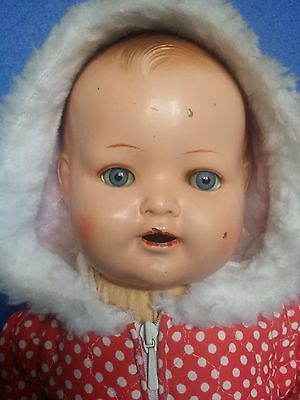 """Old R II Celluloid Doll  17"""""""