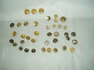 mixed lot buttons - sewing supplies - goldtone metal