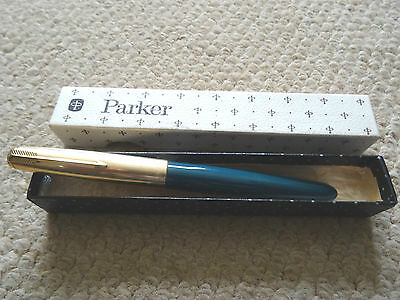 Vintage Parker 51 Fountain Pen Teal Blue Rolled Gold, Gold Nib, Grey Jewel + Box
