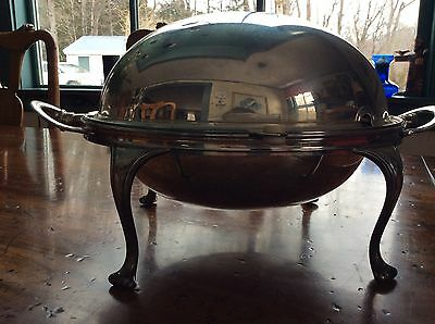 Victorian 1875  Heavy Silver Plate Roll Top Bacon/ Breakfast Server/ Warmer