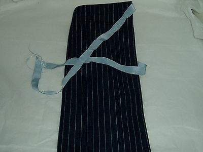 Blue striped half apron, washable fabric one size fits all
