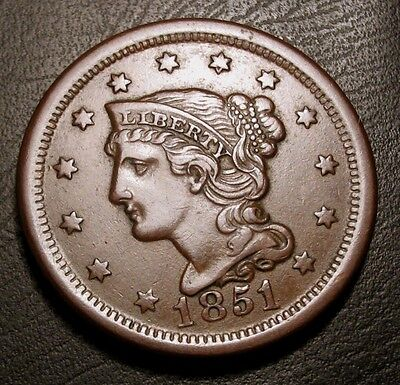 Old Us Coins 1851 Choice Braided Hair Large Cent Penny Cherry Picked Beauty