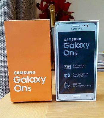Brand New Samsung Galaxy On5 White (Sim free/Unlocked) Dual Sim 5inch 1.3Ghz 8GB