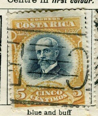 COSTA RICA;   1907 early classic issue fine used 1c. value