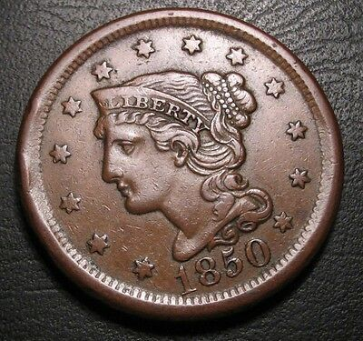 Old Us Coins 1850 Choice Braided Hair Large Cent Penny Cherry Picked Beauty