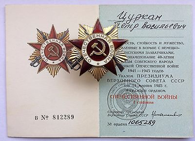 Original Soviet Orders Medals and Documents Patriotic War USSR SILVER
