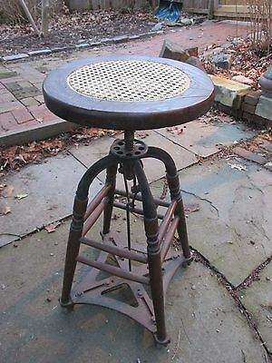 Machine Age Industrial  Drafting Stool with attached metal wheels/ UNIQUE!
