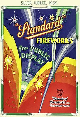 """STANDARD Fireworks 1935 """"SILVER JUBILEE"""" - POSTER 13x19""""- England - Exceptional!"""