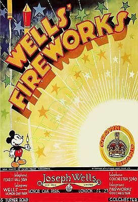 """WELLS FIREWORKS / Mickey Mouse Fireworks - (London England) - POSTER 13x19"""" NICE"""