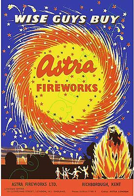 """ASTRA Brand Fireworks - POSTER 13x19"""" -  England - """"Wise Guys Buy... Astra"""""""