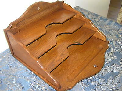 Antique Oak Wood Letter Holder.