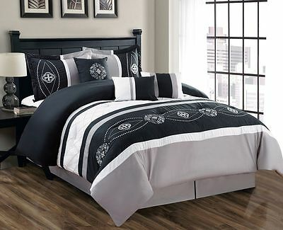 11 Piece Floral Embroidered Black/Gray/White Bed in a Bag Set
