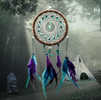 Dream Catcher with Feathers Wall Hanging Ornament Net Decoration Turquoise Stone