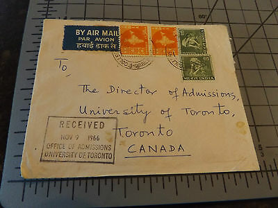 Envelope 1966 India Stamps to University of Toronto Collectible Office Air Mail