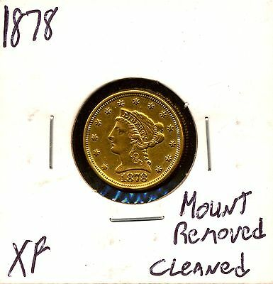 1878 G$2.5 Liberty Head Gold Quarter Eagle XF Details - Cleaned, Mount Removed