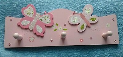 Pink butterfly clothes coat wall hooks, 3 pegs for girls bedroom nursery