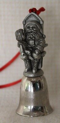 """Silver Plated Pewter Santa Christmas Bell 3 1/4""""  EUC!"""
