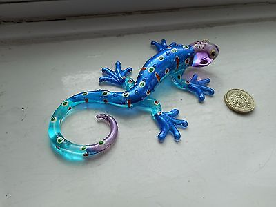 Gecko - Glass -  Collectable  Miniature Light Blue/dep Blue/purple Gecko Lizard