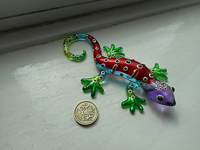 Gecko - Glass -  Collectable  Miniature Red/blue/green/purple Gecko Lizard