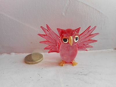 Owl - Glass - Cute And Collectable  Miniature Bright Red Flying Owl
