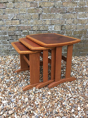 Mid century solid teak leather top tile effect nest of tables stacking tables