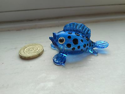 Puffer Fish -Beautiful Glass  Miniature Colourful Glass Deep Blue Puffer Fish