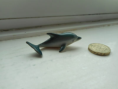 Dolphin - Detailed, Beautiful Miniature Pottery Dark Grey/blue Dolphin Figurine