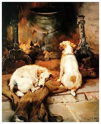 PARSON JACK RUSSELL FOX HUNT TERRIER DOG FINE ART PRINT - Warming by the Hearth