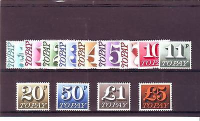 a102 - GREAT BRITAIN/GB - SGD77-D89 MNH 1970 POSTAGE DUES 1/2p - £5 DECIMAL