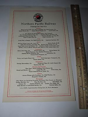 Northern Pacific Railroad Yellowstone Line Photo Dining Card Menu  1920s