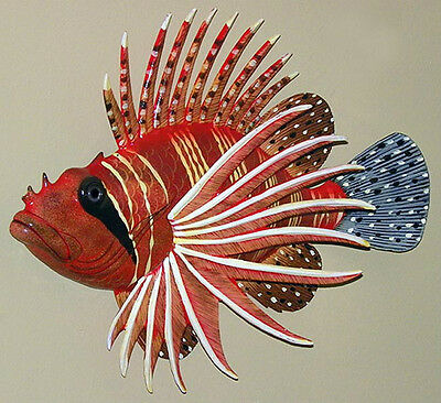"Lion Fish Replica Wall Mount Plaque ~ 15"" X 11""~Tropical Nautical Seashore Decor"