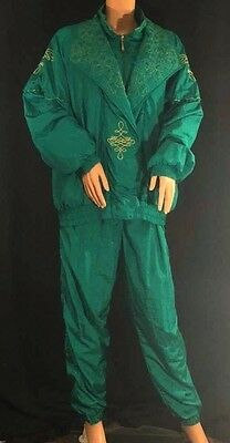 Lavon Vtg 80s/90s Tracksuit Teal/Gold Jogging Jacket & Pants Outfit Lounge XL/L