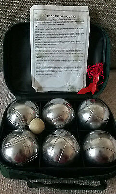 Genuine French Boules/petanque, Set Of Six Boules, Wooden Jack And Measure