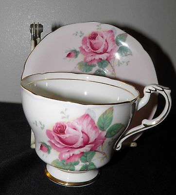Vintage PARAGON Cup & Saucer Pink White Bone China with Pink Roses Gold Trim