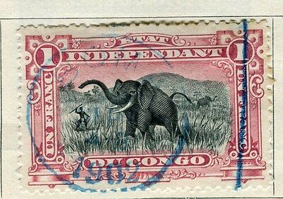 BELGIUM CONGO;   1900s early classic pictorial issue 1Fr. used, Postmark