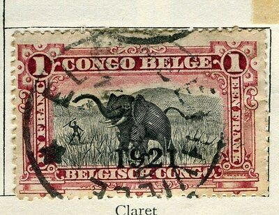 BELGIUM CONGO;  1910 early classic pictorial issue  1Fr. used,