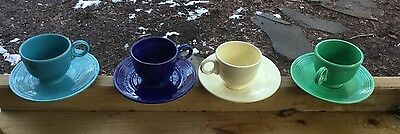Fiesta Vintage Lot of 4 Tea Cup & Saucer Sets Original Colors  - Excellent