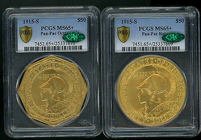 $50 1915-S Panama Pacific Round & Octaganal Pair Pcgs Secure Ms65+ Cac Mega Gems