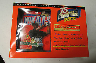 Tiger Woods Mini Wheaties Box 75 Yrs 24K Gold Signature Mint In Box