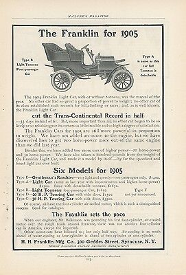 1904 Franklin Light Car Ad Type B Light Tonneau Early Auto New Models