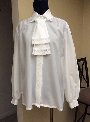 Vintage Womens Bow Tie Front Blouse Judy Bond Secretary Shirt White NO SIZE TAG