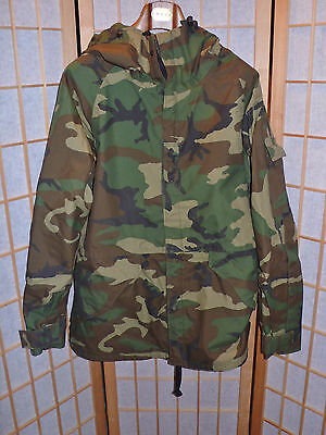 Nylon Military Camouflage Jacket With Hood Mens Size M Long Full Lined