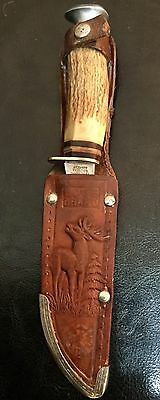 EDGE BRAND Germany Hollow Ground Hunting Knife 468 - VINTAGE Solingen Stag Horn